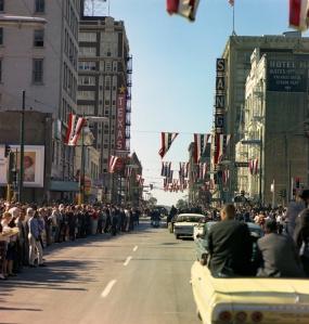 View from U.S. President John F. Kennedy's motorcade through Dallas Nov. 22, 1963
