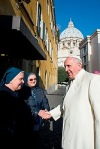 Pope greets nuns after visiting St. Martha Dispensary at Vatican