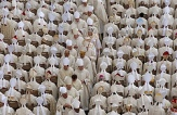 Bishops process to seats before Pope Francis celebrates canonization Mass at Vatican