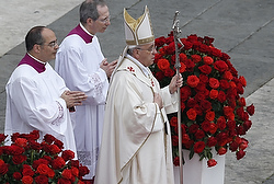 Pope Francis arrives to celebrate canonization Mass of Sts. John XXIII and John Paul II