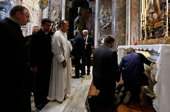 People wait to pay respects at tomb of St. John Paul II
