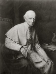 Portrait of Pope Leo XIII holding quill pen