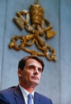 Jean-Baptise de Franssu, new president of Vatican bank, attends press conference at  Vatican