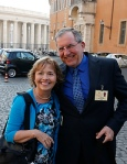 Alice and Jeff Heinzen of Menomonie, Wis., pose for a photo as they arrive for extraordinary Synod of Bishops on the family at Vatican