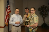 Scout Matthew Grimes is recognized for completion of all 140 Boy Scout patches.