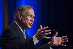 Texas Governor Greg Abbott speaks during the 11th annual National Catholic Prayer Breakfast May 7 at the Marriott Marquis Hotel in Washington. (CNS photo/Tyler Orsburn) See BREAKFAST May 7, 2015.
